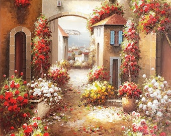 Tuscan Street View - 36x48 100% Hand Painted Oil Painting on Canvas