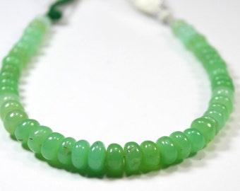 Beautiful Mint Green Australian Chrysophrase Rondelle Shape Smooth Beads.