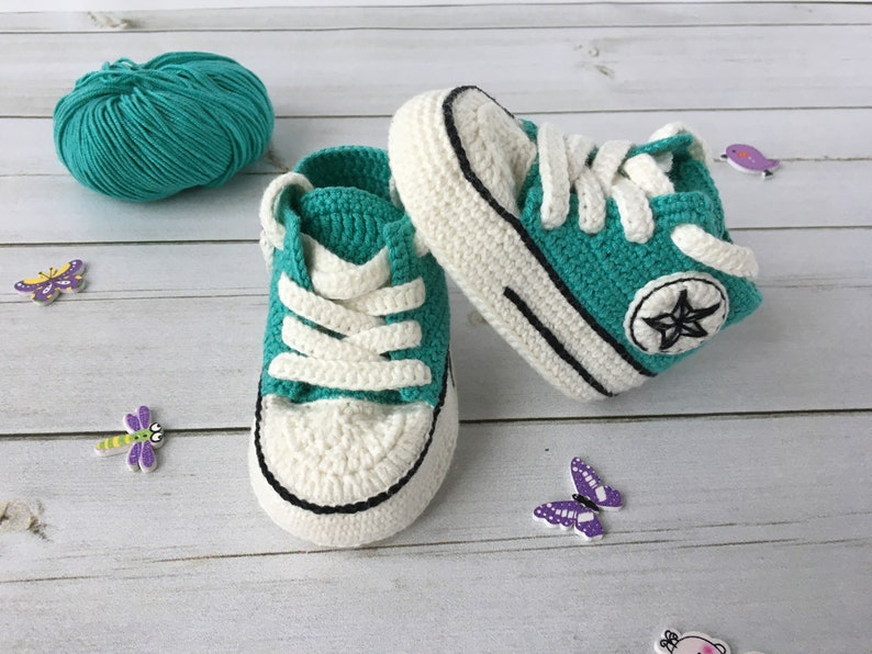 Crochet Converse All Star Baby Booties Crochet Converse Etsy