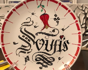 Personalized calligraphic work on a plate or special paper