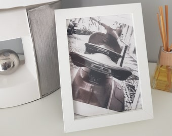 Black & Grey Scooter - Framed Picture / Print - 18 x 13 cm