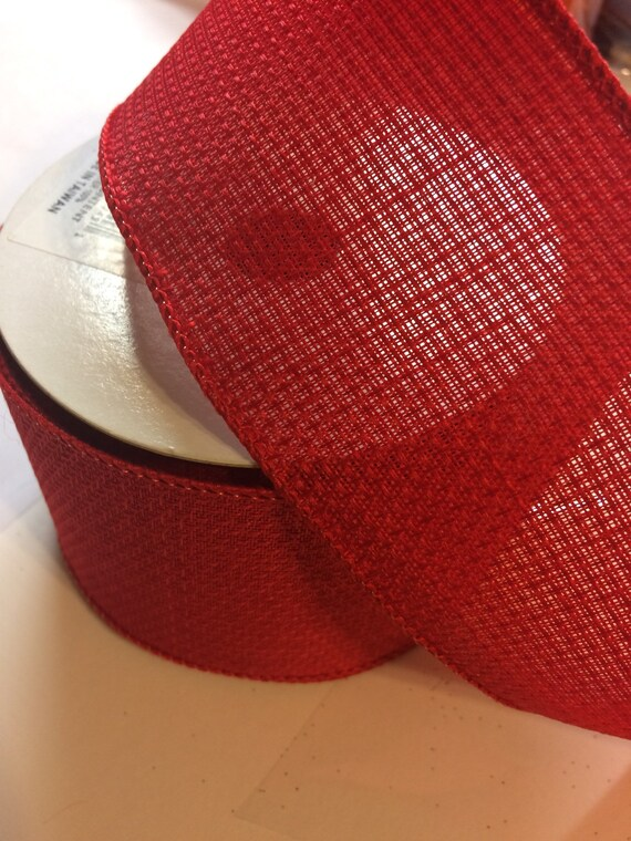 Red Wired Ribbon | Red Wired Ribbon 2 5 Wide Etsy