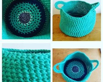 Large crochet storage basket, turquoise tshirt yarn cotton
