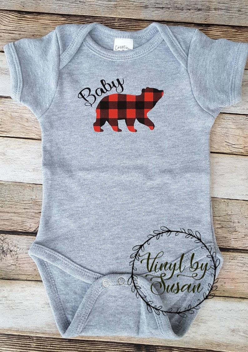 Pregnancy Announcement Tshirts Daddy Bear Family Bear Group Tees Mama Bear Baby Bear Buffalo Plaid Tshirts