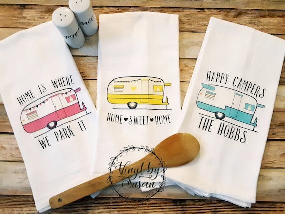 Happy Camper Personalized Flour Sack Tea Towels Vintage