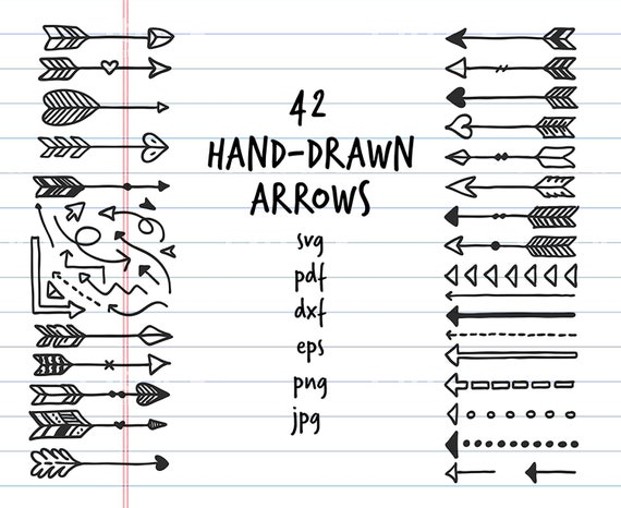 Hand Drawn Arrows Svg Pdf Eps Dxf Png Jpg Vector Clipart Doodles Set