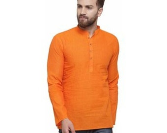 Indian Handmade 100% cotton Short Shirt or Kurta Solid Color