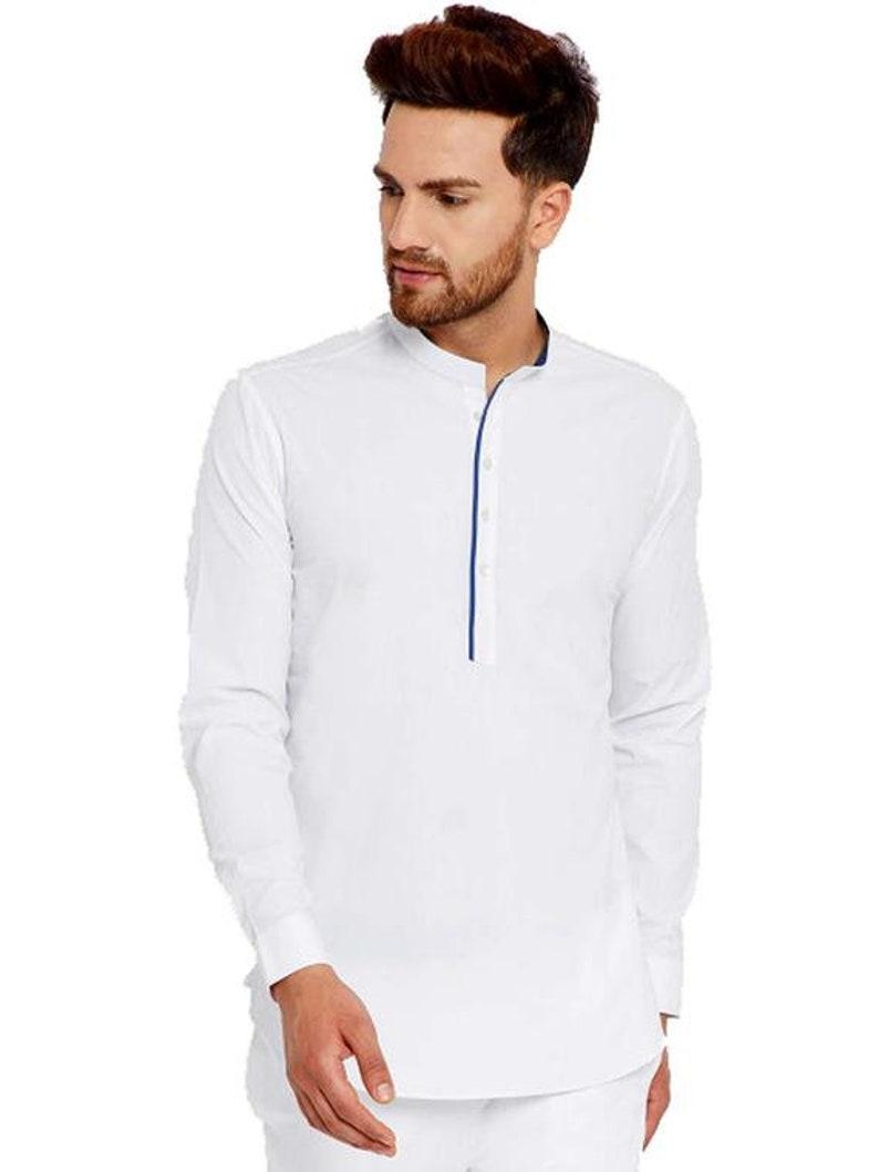 Indian Handmade Cotton Solid Shirt Top Tunic Plus Size Long Sleeves Men/'s Kurta