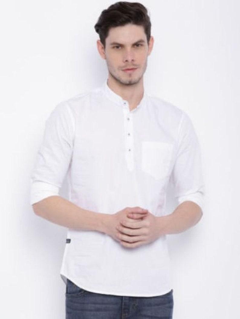 cheap for discount a6fa1 cc2bf Uomo indiano camicia tinta di Kurta Top tunica bianca colore breve Kurta