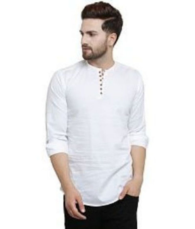 a5379a9a3be Indian Shirt Kurta Solid Shirt men Top Tunic White Color Short