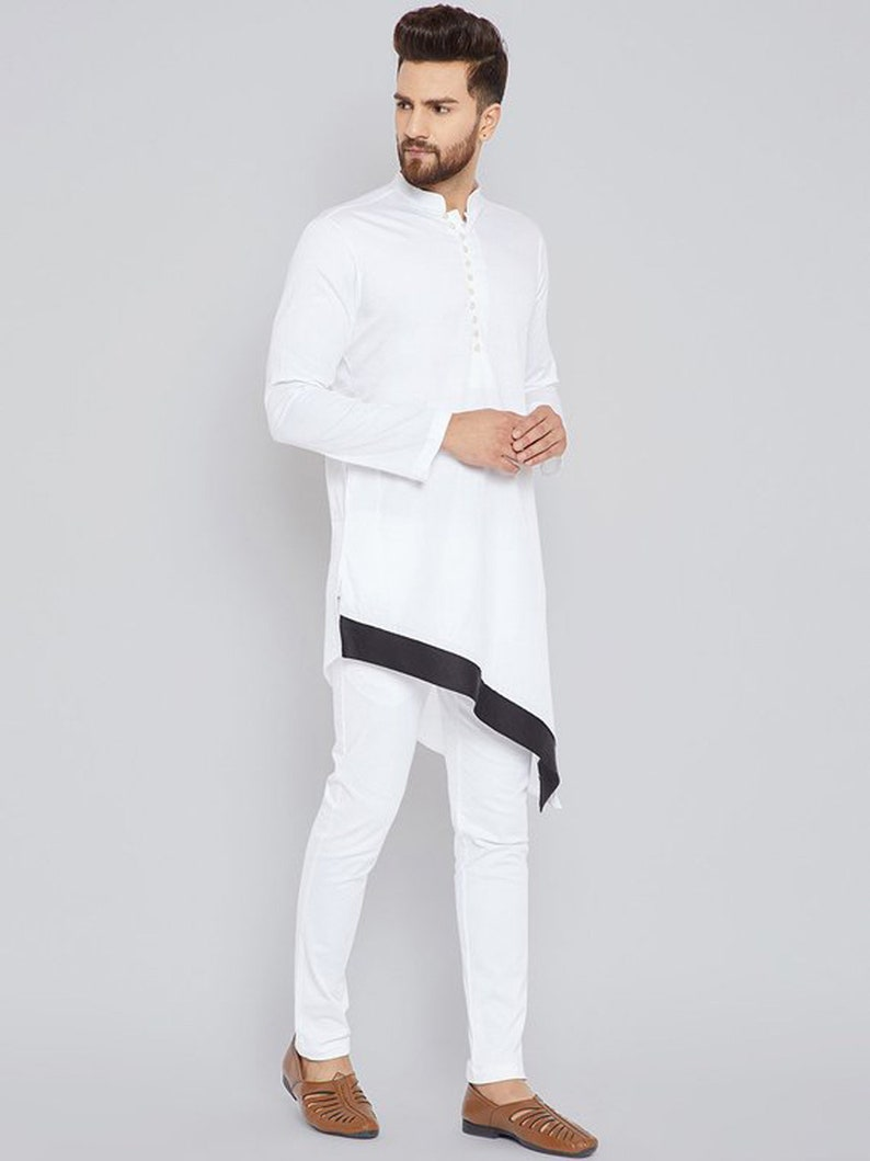 2939200ac0 Indian Shirt White Cotton Kurta Nehru Collar tunic solid Plus | Etsy