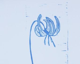Glacier Lily 2, Linoleum Print, Linocut