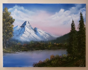 Bob Ross Replica pink sky original painting