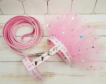 Pink Tie Dye Paws Ferret Harness