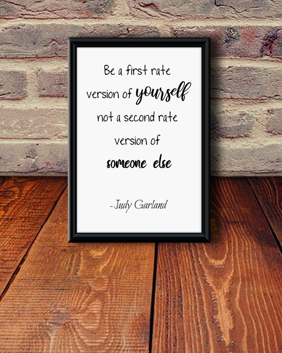 Printable Quote Wall Art Be A First Rate Version Of Yourself | Etsy