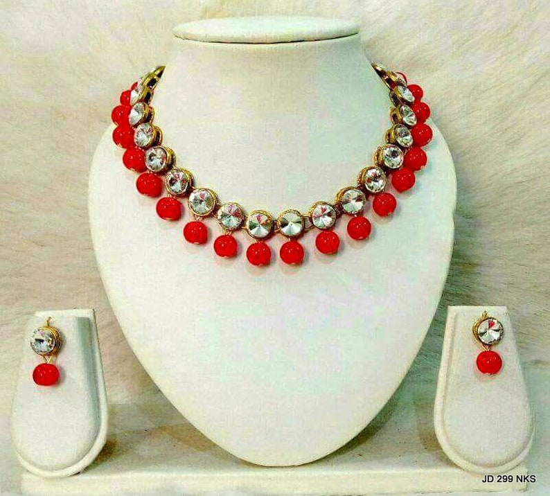Indian Traditional Ethnic Bollywood Kundan Pearl Necklace Bridal Jewelry Set Beach Jewelry Hippie Necklace Set Boho Gypsy Gift