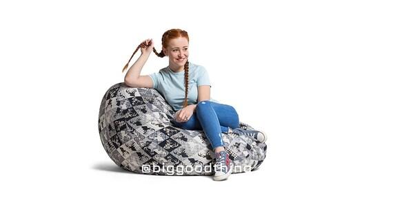 Surprising Adult Bean Bag Chair With A Filler Elnias White Cotton Creativecarmelina Interior Chair Design Creativecarmelinacom