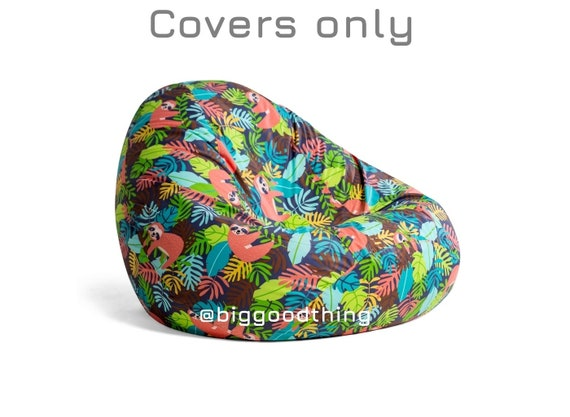 Fine Bean Bag Chair Cover Sloth Green Cotton Bean Bag Indoor Bean Bag On Sale Palms Adults Bean Bag Cover Kids Bean Bag Tropical Bean Bag Caraccident5 Cool Chair Designs And Ideas Caraccident5Info