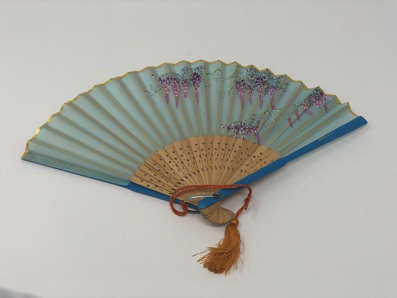 Vintage Blue Floral Hand Fan
