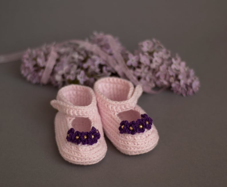 Crochet Flower Booties Baby Girl Pink Mary Jane Slippers 0 3 6 Etsy