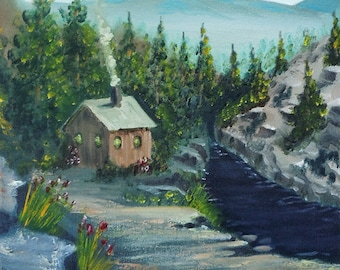 DIGITAL DOWNLOAD (2 .jpegs) Cabin on River with mountains in the background - hand painted Oil