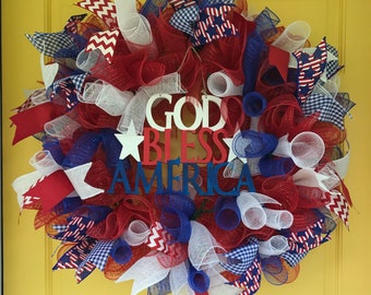 """26-28"""" red, white and blue patriotic ribbon wreath"""