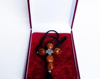Car Rearview Mirror Charm-Christian Cross Crucifix with Myron nutmeg seeds-Cross car rear view mirror charm with Brown Aromatic nutmeg seeds