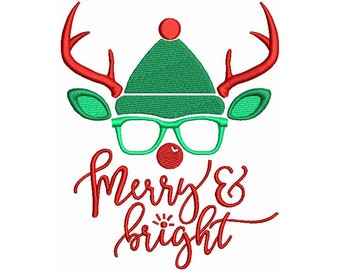 Christmas, Merry And Bright - Machine Embroidery Design, Reindeer Embroidery Pattern, Antlers Machine Embroidery