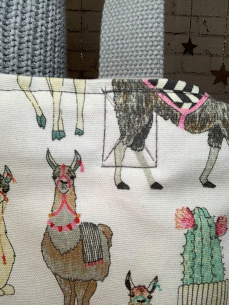 Llama Alpaca Cactus Tote with gray grey handles