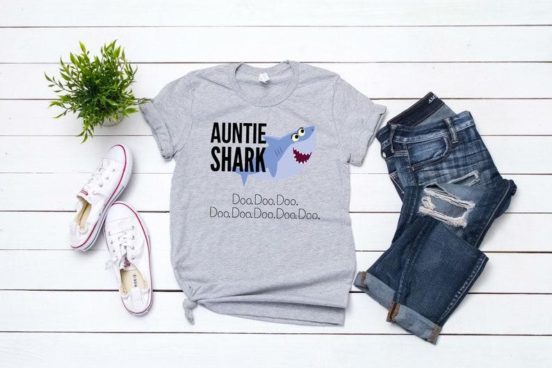 312037ce66 Custom Auntie Shark who cuss a lot Grey Shirt Doo Doo Funny   Etsy