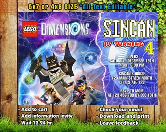 Lego Dimension Invitations/Lego  Dimension Birthday/Lego  Dimension Party/Lego  Dimension Card/Lego  Dimension Printable/Lego  Dimension