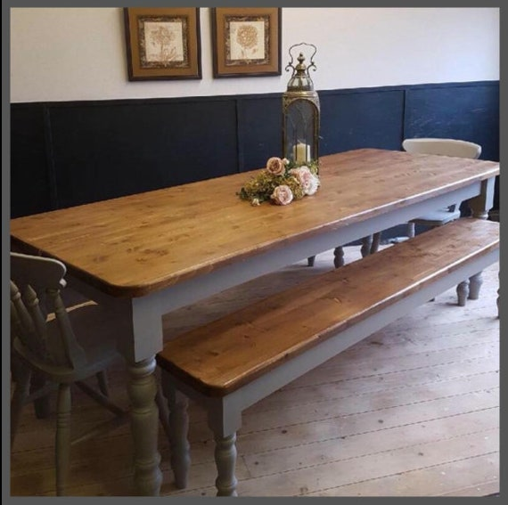 Amazing Farmhouse Dining Table 6Ft New Handmade Pine Bespoke Farmhouse Dining Table Two Benches And Two Chairs In Any Farrow And Ball Colour Gmtry Best Dining Table And Chair Ideas Images Gmtryco