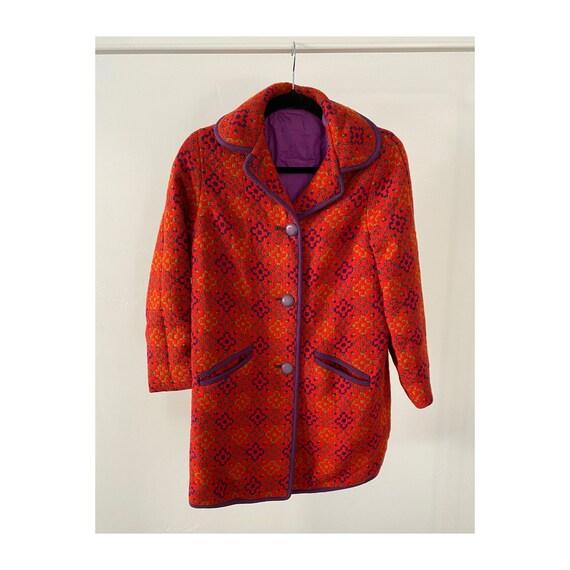 60s Purple & Red Coat