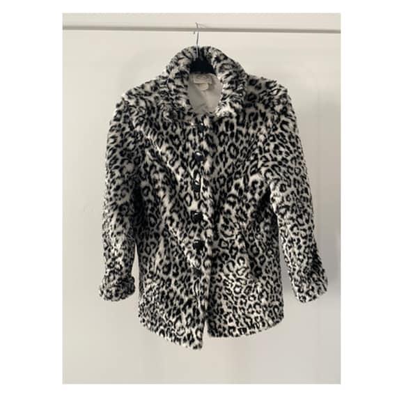 60s White Leopard Faux Fur Coat