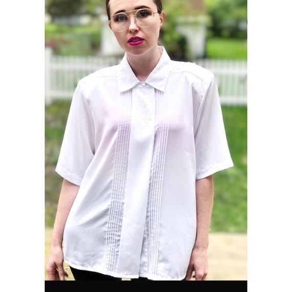 Oversized White Button-Up