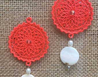 round orange boho lace earrings with fresh water pearls and natural shells