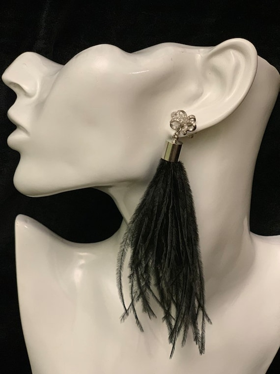 Silver and black bead tassel or silver feather long dangle earrings