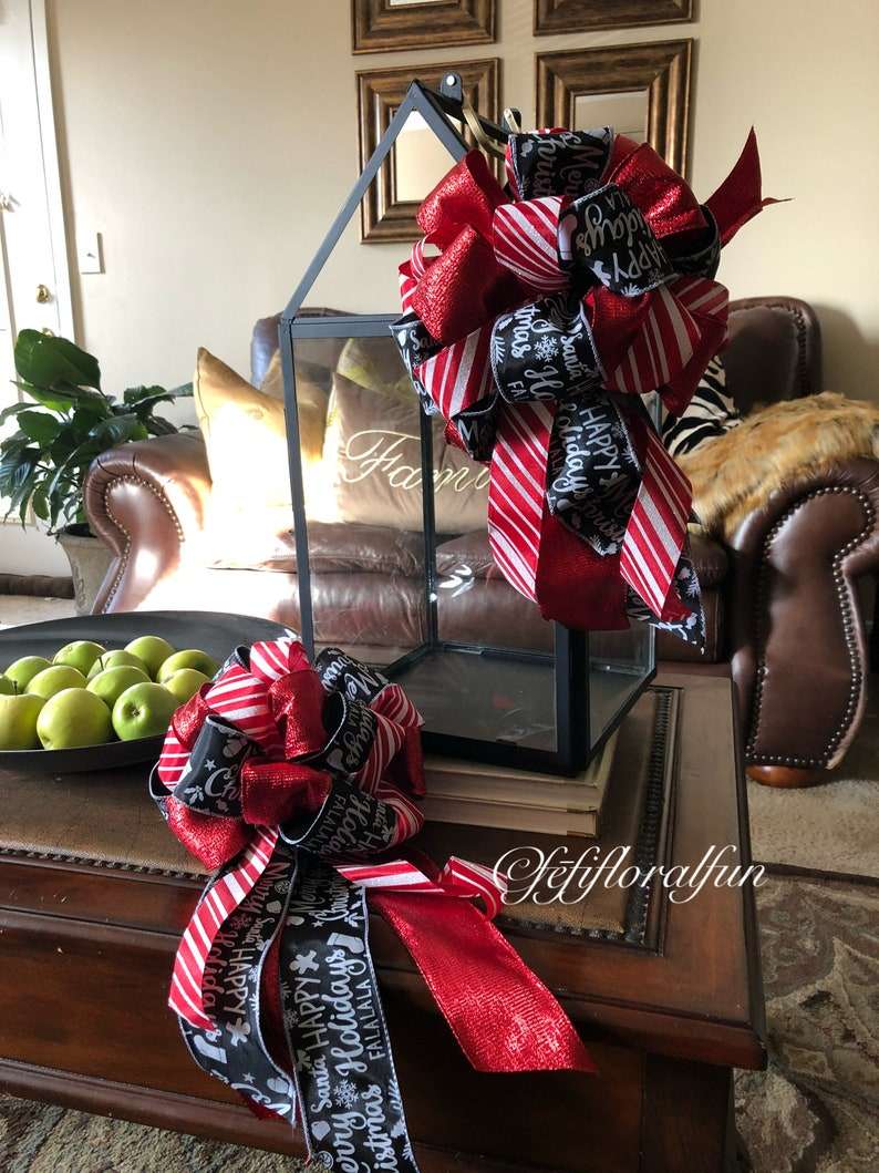 Christmas Tree Topper Bow Red Black Christmas Decor Lantern Etsy