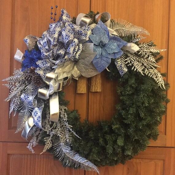 Frozen Christmas Wreath Frozen Christmas Frozen Colors Blue Silver Christmas Wreath Christmas Decor Christmas Door Decor Frozen