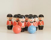Vintage Hand painted wooden toy soldier skittles,