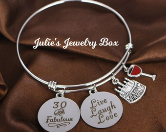 482a5a798c15b 30 Fun and Fabulous-Wine, Live, Laugh, Love, and Birthday Cake Milestone Birthday  Charm Bracelet-FREE SHIPPING!