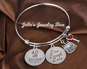 58d19b5773290 Handmade 40 Fun and Fabulous-Wine, Live, Laugh, Love, and Birthday Cake  Milestone Birthday Charm Bracelet-FREE SHIPPING!