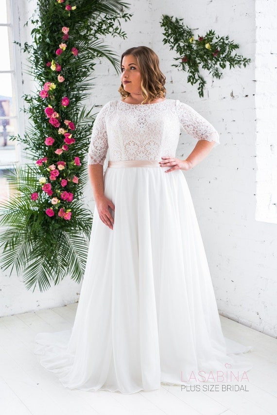 Plus size wedding dress, vintage wedding dress, plus size vintage wedding  dress, chiffon plus size wedding dress