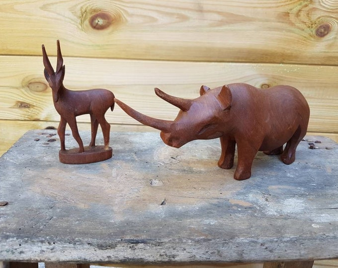 Wooden animal duo