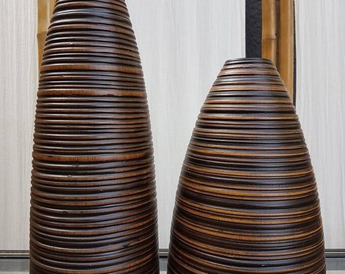 Pair wood vases