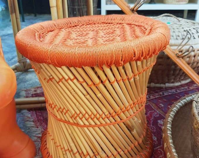 Pouf, piece of woven bamboo sofa