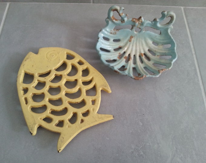 SOAP, dish old vintage metal trivet dish set