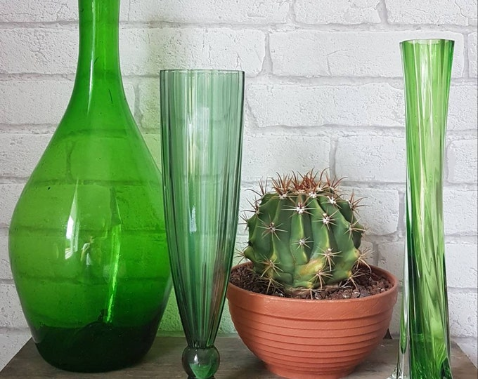 Trio green vases