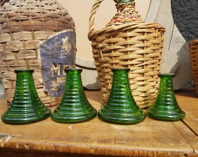 Set 4 glass candlesticks