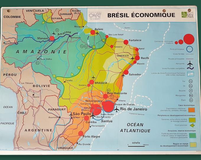 vintage school map poster Brazil